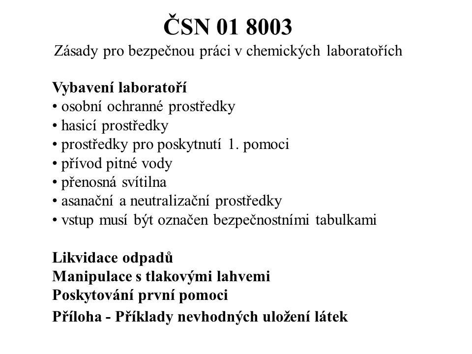 ČSN 01 8003 Zásady pro bezpečnou práci v chemických laboratořích Vybavení laboratoří osobní ochranné prostředky hasicí prostředky prostředky pro poskytnutí 1.