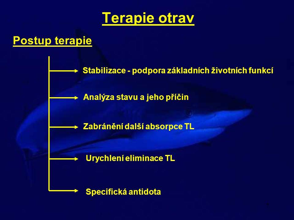 7 Terapie otrav Postup terapie Stabilizace - podpora základních životních funkcí Analýza stavu a jeho příčin Zabránění další absorpce TL Urychlení eli