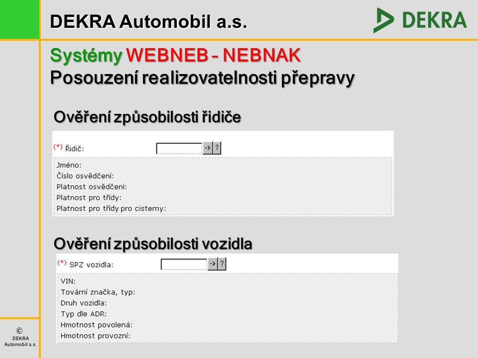 DEKRA Automobil a.s. © DEKRA Automobil a.s. Systémy WEBNEB – NEBNAK Posouzení realizovatelnosti přepravy Ověření způsobilosti řidiče Ověření způsobilo