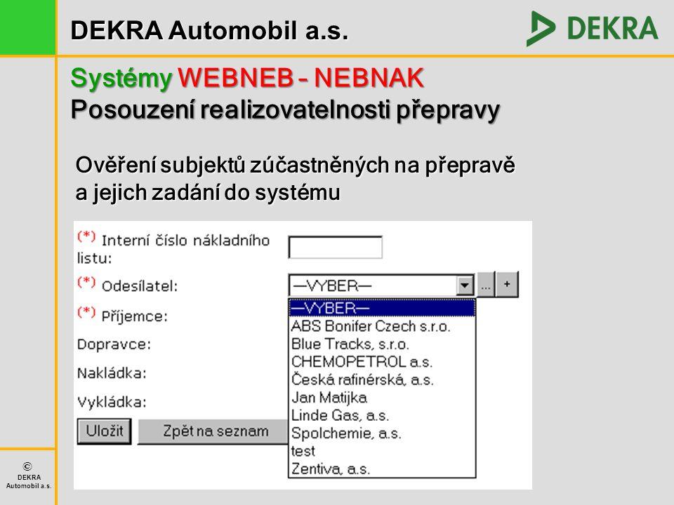 DEKRA Automobil a.s. © DEKRA Automobil a.s. Systémy WEBNEB – NEBNAK Posouzení realizovatelnosti přepravy Ověření subjektů zúčastněných na přepravě a j