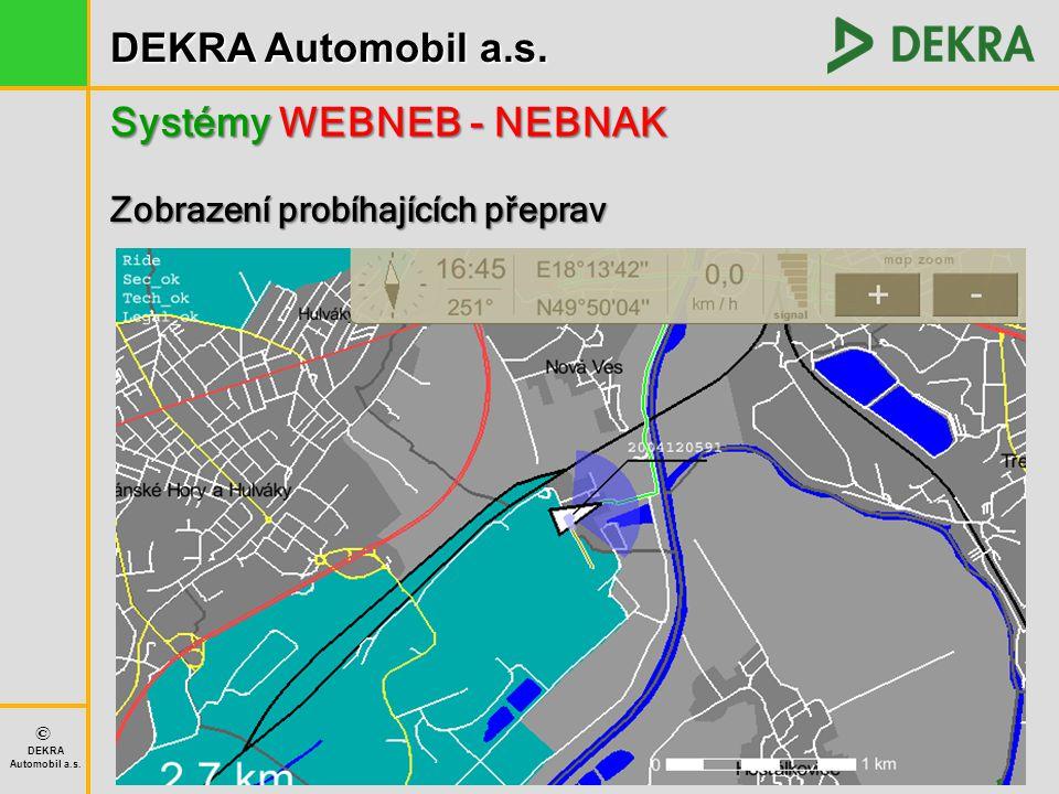 DEKRA Automobil a.s. © DEKRA Automobil a.s. Systémy WEBNEB - NEBNAK Zobrazení probíhajících přeprav