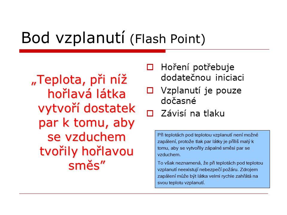 """Bod vzplanutí (Flash Point) """"Teplota, při níž hořlavá látka vytvoří dostatek par k tomu, aby se vzduchem tvořily hořlavou směs""""  Hoření potřebuje dod"""