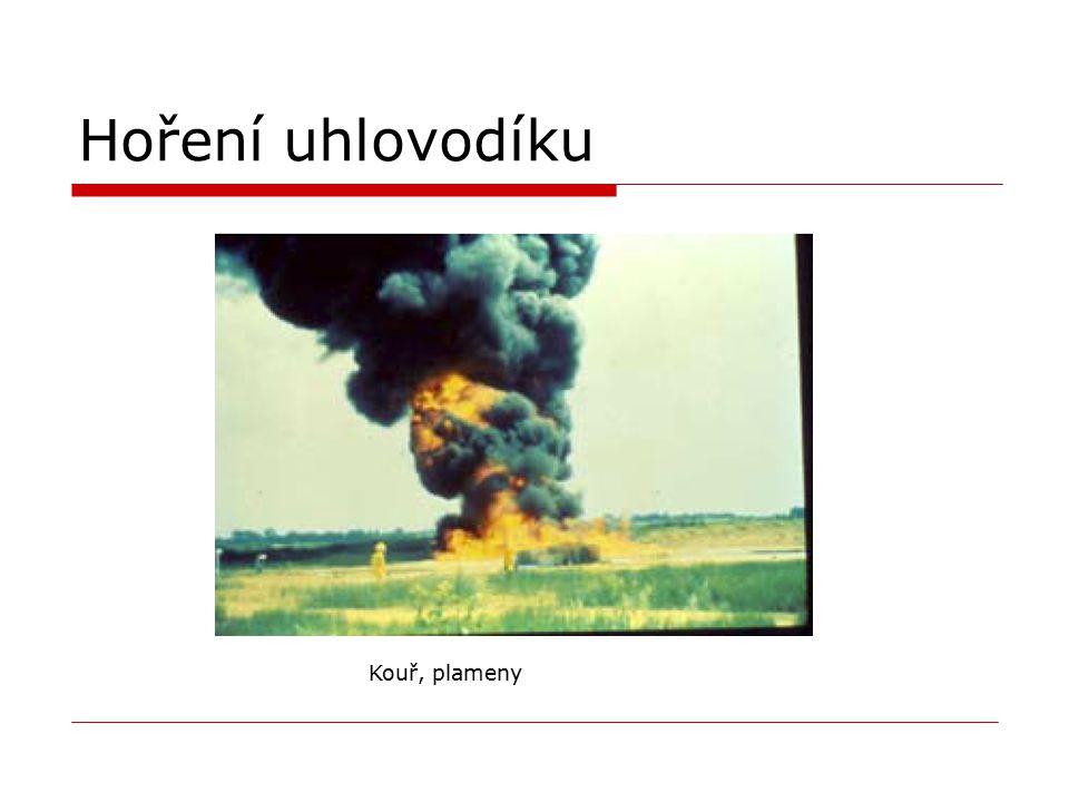 Hoření uhlovodíku Kouř, plameny