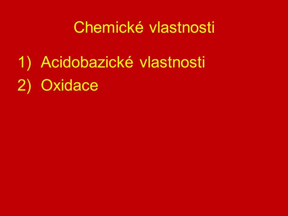 1) Acidobazický charakter přijímají proton  chovají se jako zásady  reagují s kyselinami za vzniku dialkyloxoniových solí CH 3 -O-CH 3 + HBr  [CH 3 -OH-CH 3 ] + Br - dimethyloxoniumbromid