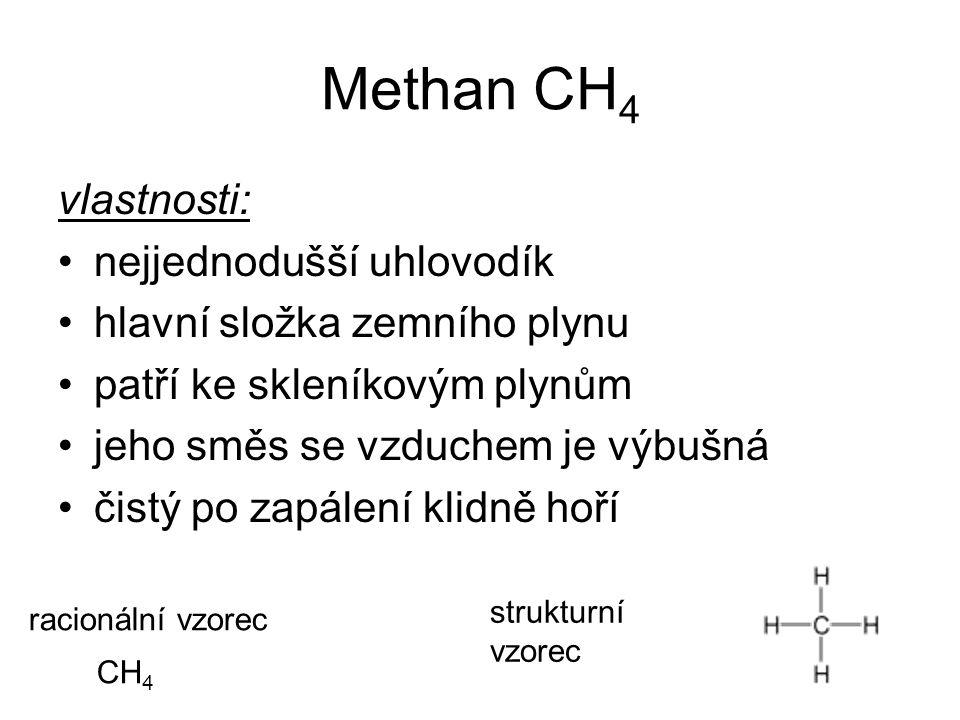Methan CH 4 vlastnosti: nejjednodušší uhlovodík hlavní složka zemního plynu patří ke skleníkovým plynům jeho směs se vzduchem je výbušná čistý po zapá