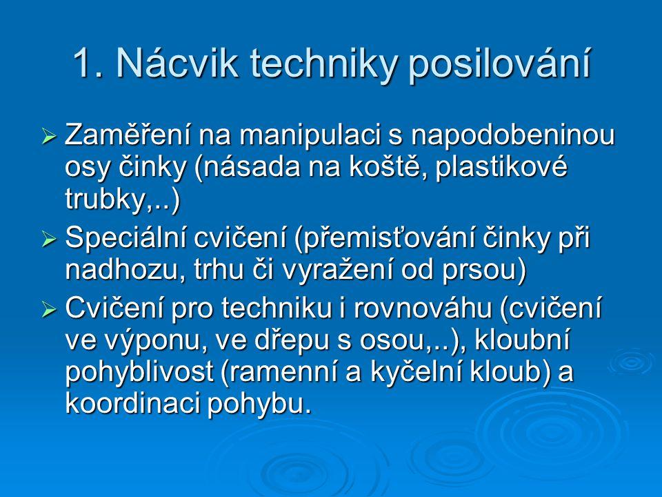 1. Nácvik techniky posilování  Zaměření na manipulaci s napodobeninou osy činky (násada na koště, plastikové trubky,..)  Speciální cvičení (přemisťo