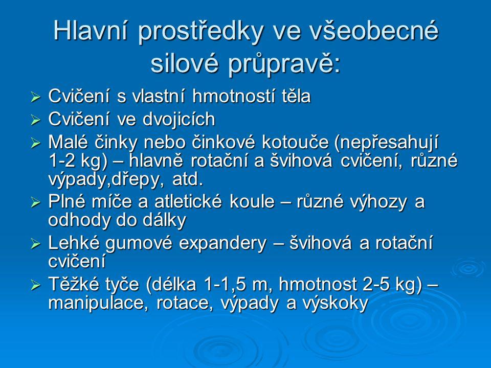 Hlavní prostředky ve všeobecné silové průpravě:  Cvičení s vlastní hmotností těla  Cvičení ve dvojicích  Malé činky nebo činkové kotouče (nepřesahu