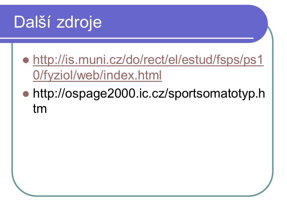 Další zdroje http://is.muni.cz/do/rect/el/estud/fsps/ps1 0/fyziol/web/index.html http://is.muni.cz/do/rect/el/estud/fsps/ps1 0/fyziol/web/index.html h
