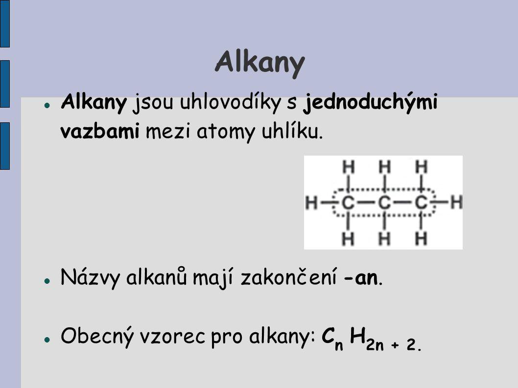 Alkany Alkany jsou uhlovodíky s jednoduchými vazbami mezi atomy uhlíku. Názvy alkanů mají zakončení -an. Obecný vzorec pro alkany: C n H 2n + 2.