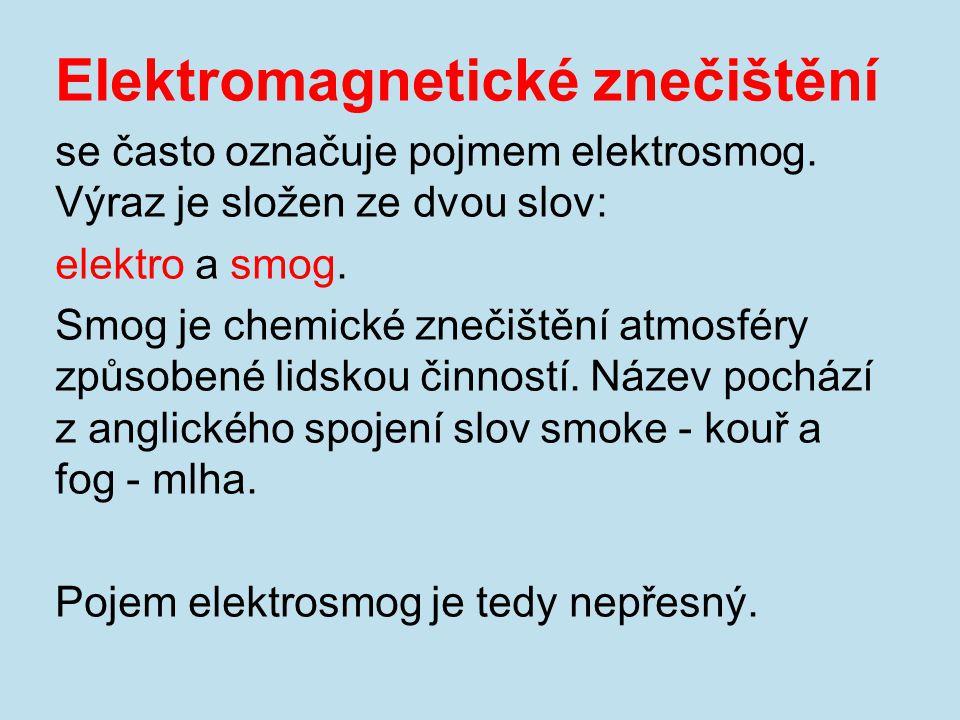 Elektromagnetické znečištění se často označuje pojmem elektrosmog. Výraz je složen ze dvou slov: elektro a smog. Smog je chemické znečištění atmosféry