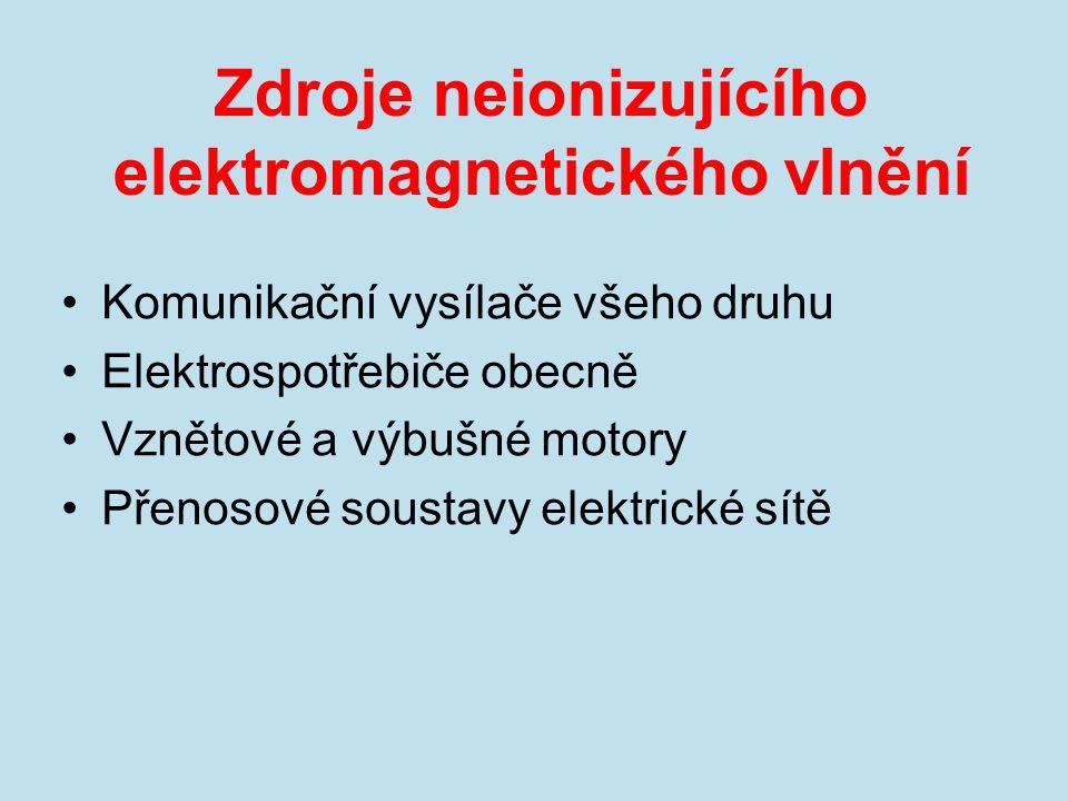 Zdroje neionizujícího elektromagnetického vlnění Komunikační vysílače všeho druhu Elektrospotřebiče obecně Vznětové a výbušné motory Přenosové soustav