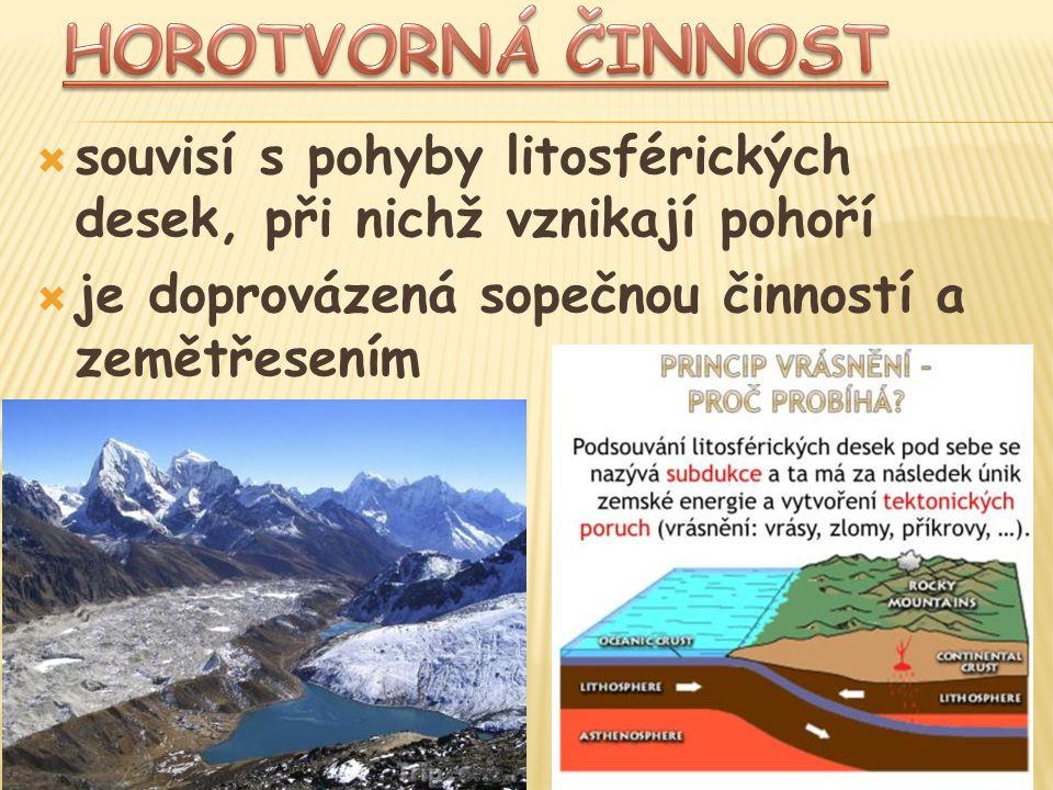  souvisí s pohyby litosférických desek, při nichž vznikají pohoří  je doprovázená sopečnou činností a zemětřesením
