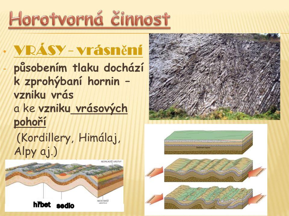 VRÁSY - vrásn ě ní - působením tlaku dochází k zprohýbaní hornin – vzniku vrás a ke vzniku vrásových pohoří (Kordillery, Himálaj, Alpy aj.)