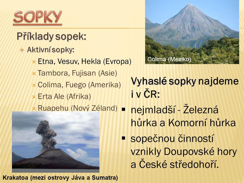 Příklady sopek:  Aktivní sopky:  Etna, Vesuv, Hekla (Evropa)  Tambora, Fujisan (Asie)  Colima, Fuego (Amerika)  Erta Ale (Afrika)  Ruapehu (Nový