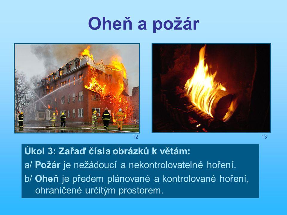 Oheň a požár Úkol 3: Zařaď čísla obrázků k větám: a/ Požár je nežádoucí a nekontrolovatelné hoření.