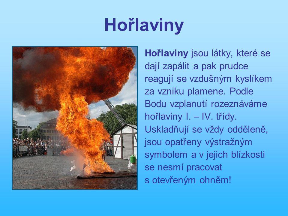 Hořlaviny Hořlaviny jsou látky, které se dají zapálit a pak prudce reagují se vzdušným kyslíkem za vzniku plamene.
