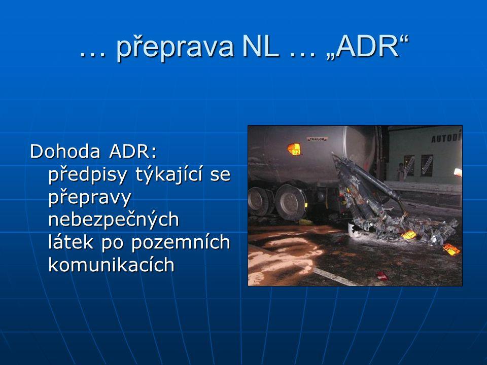 """… přeprava NL … """"ADR"""" Dohoda ADR: předpisy týkající se přepravy nebezpečných látek po pozemních komunikacích"""