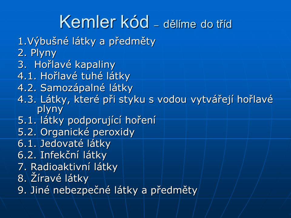 Kemler kód – dělíme do tříd 1.Výbušné látky a předměty 2. Plyny 3. Hořlavé kapaliny 4.1. Hořlavé tuhé látky 4.2. Samozápalné látky 4.3. Látky, které p