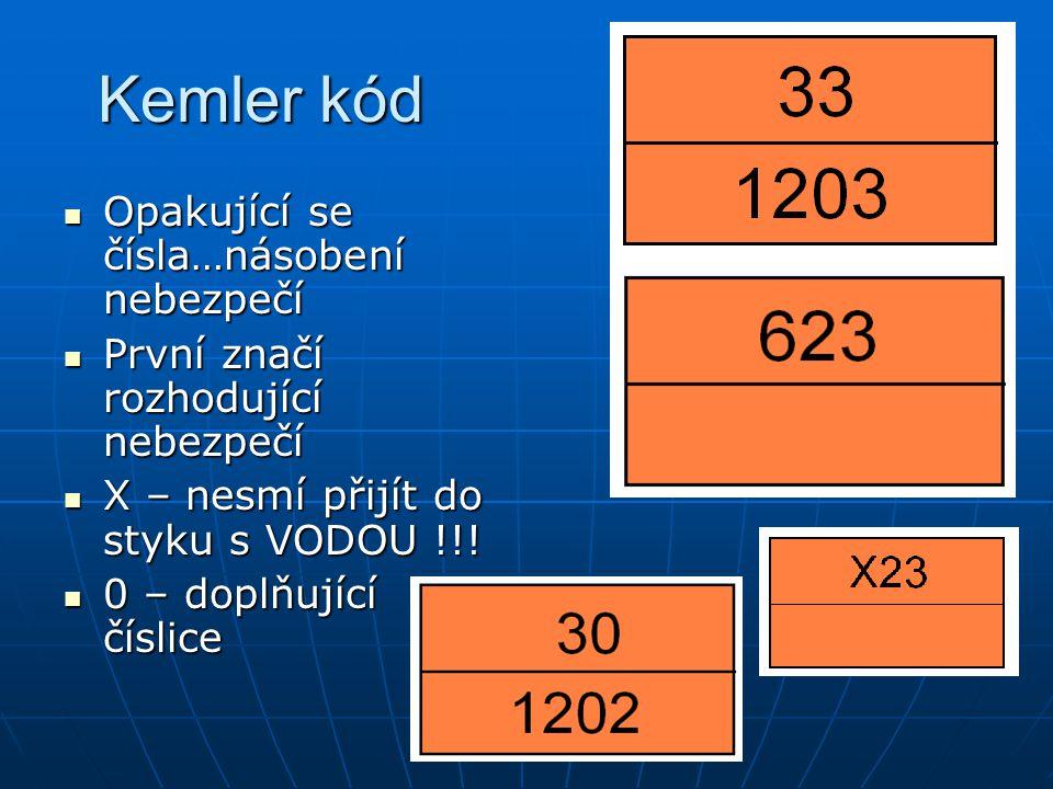 Kemler kód Opakující se čísla…násobení nebezpečí Opakující se čísla…násobení nebezpečí První značí rozhodující nebezpečí První značí rozhodující nebez