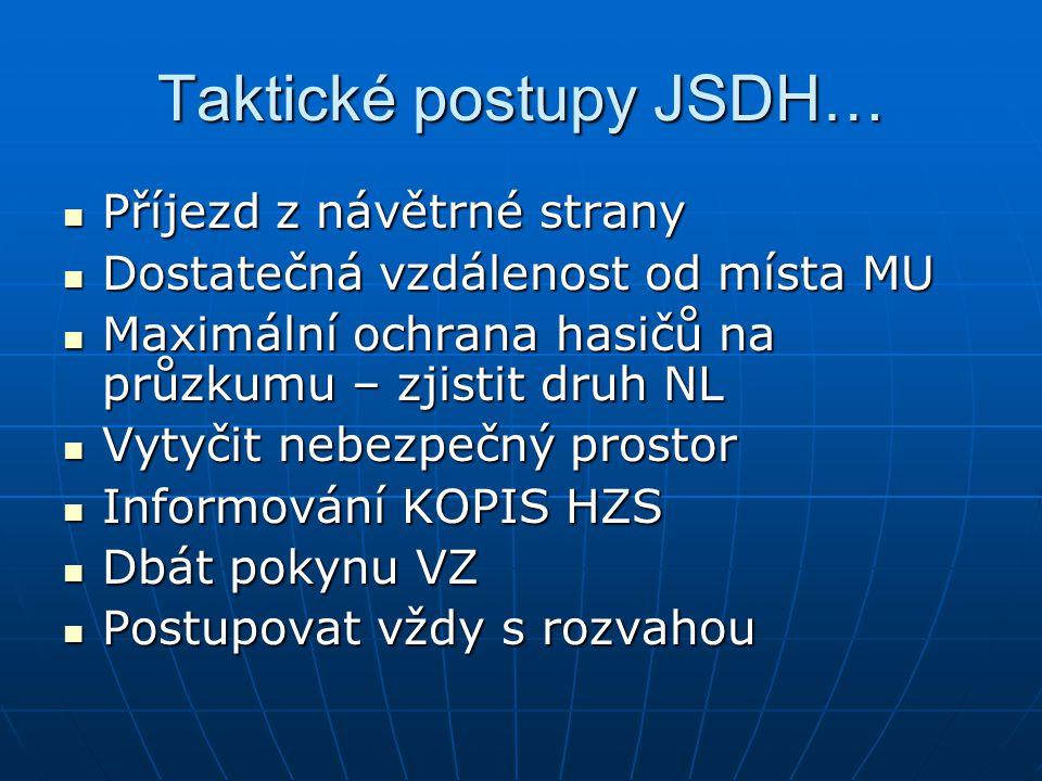 Taktické postupy JSDH… Příjezd z návětrné strany Příjezd z návětrné strany Dostatečná vzdálenost od místa MU Dostatečná vzdálenost od místa MU Maximál