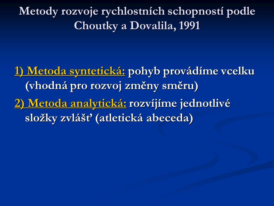 Metody rozvoje rychlostních schopností podle Choutky a Dovalila, 1991 1) Metoda syntetická: pohyb provádíme vcelku (vhodná pro rozvoj změny směru) 2) Metoda analytická: rozvíjíme jednotlivé složky zvlášť (atletická abeceda)