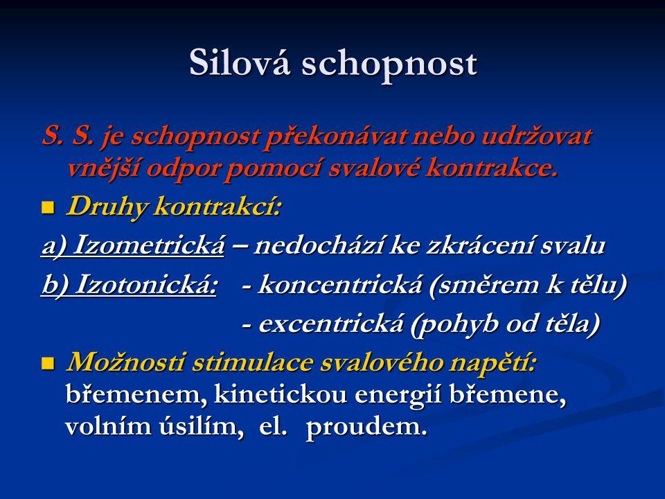 Silová schopnost S. S. je schopnost překonávat nebo udržovat vnější odpor pomocí svalové kontrakce. Druhy kontrakcí: Druhy kontrakcí: a) Izometrická –