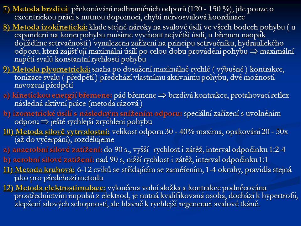 7) Metoda brzdivá: překonávání nadhraničních odporů (120 - 150 %), jde pouze o excentrickou práci s nutnou dopomocí, chybí nervosvalová koordinace 8)