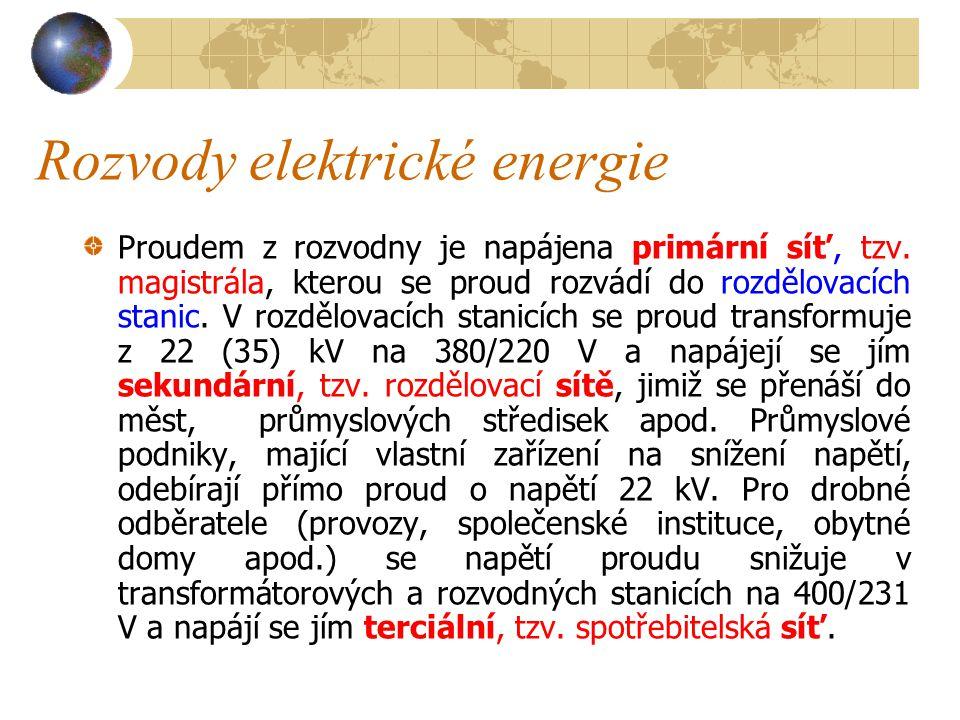 Rozvody elektrické energie Během přenosu elektrické energie se vodiče ohřívají, čímž vznikají ztráty, narůstající se čtvercem proudu I.