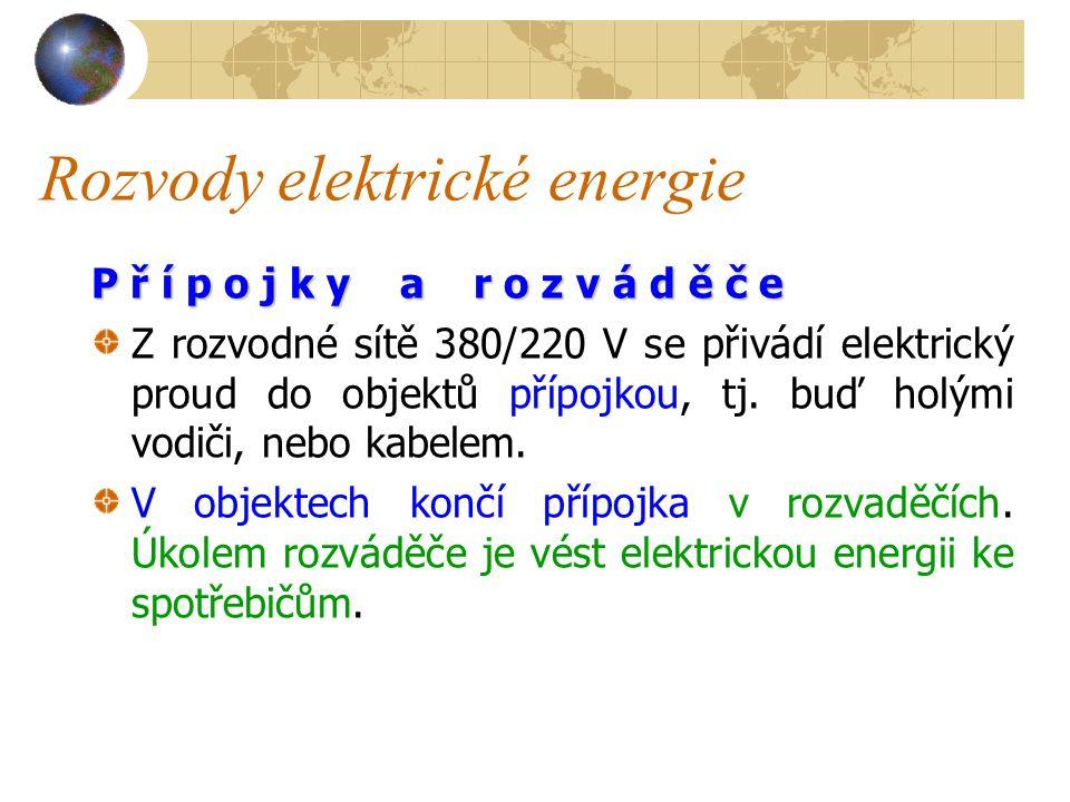 Rozvody elektrické energie Proudem z rozvodny je napájena primární síť, tzv.