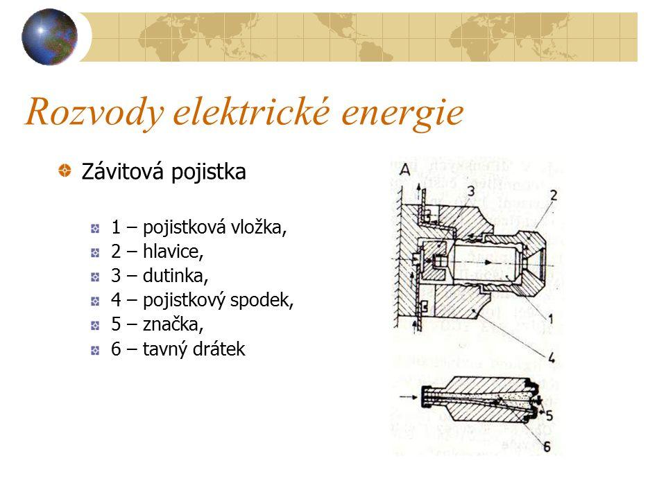 Rozvody elektrické energie Závitové pojistky ( viz obrázek A na další straně ).
