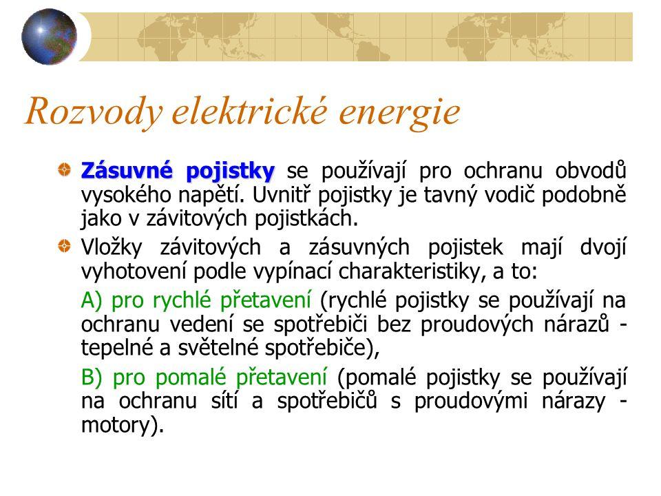 Rozvody elektrické energie Závitová pojistka 1 – pojistková vložka, 2 – hlavice, 3 – dutinka, 4 – pojistkový spodek, 5 – značka, 6 – tavný drátek