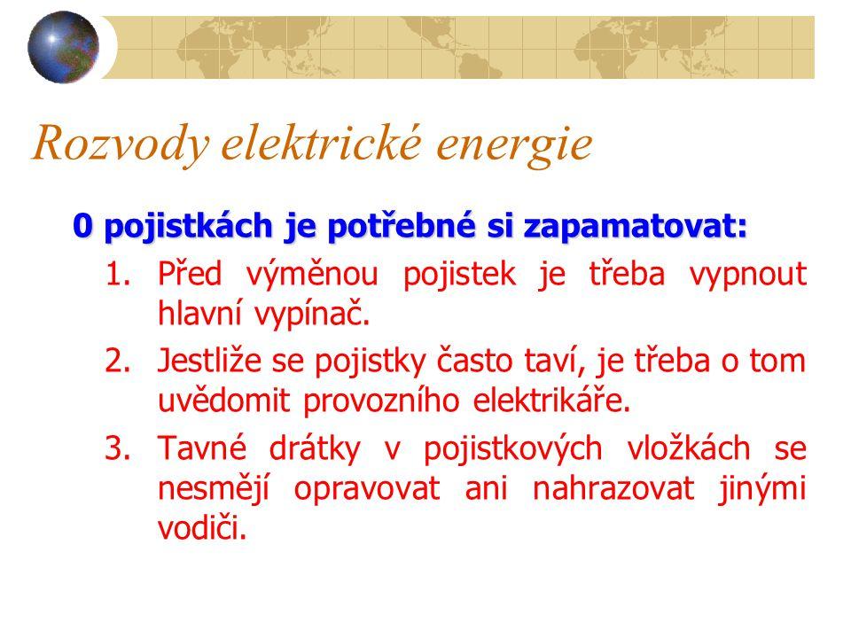 Rozvody elektrické energie Zásuvné pojistky se používají pro ochranu obvodů vysokého napětí.