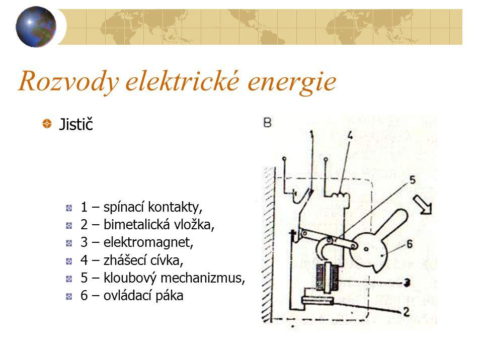 Rozvody elektrické energie J i s t i č e jsou samočinné vypínače, které samočinně vypínají obvod při zkratu nebo přetížení a po zaniknutí poruchy, nebo po jejím odstranění se mohou bez jakékoliv výměny znovu zapnout.
