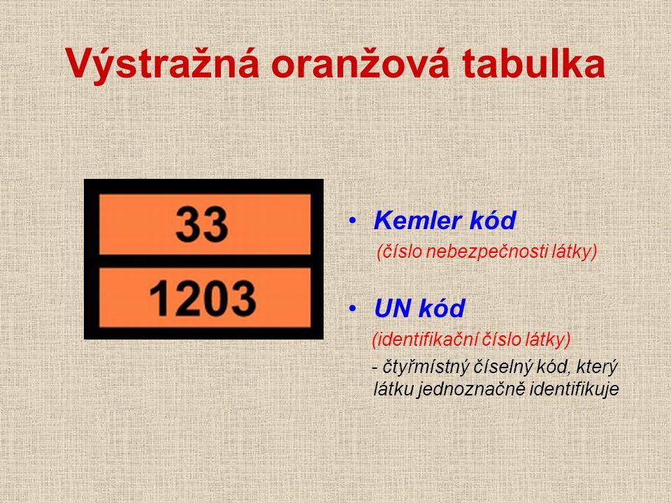 Výstražná oranžová tabulka Kemler kód (číslo nebezpečnosti látky) UN kód (identifikační číslo látky) - čtyřmístný číselný kód, který látku jednoznačně