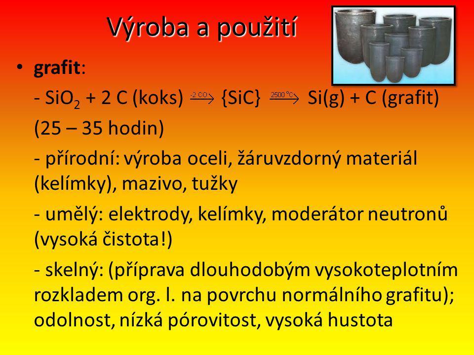 Výroba a použití grafit: - SiO 2 + 2 C (koks) {SiC} Si(g) + C (grafit) (25 – 35 hodin) - přírodní: výroba oceli, žáruvzdorný materiál (kelímky), mazivo, tužky - umělý: elektrody, kelímky, moderátor neutronů (vysoká čistota!) - skelný: (příprava dlouhodobým vysokoteplotním rozkladem org.