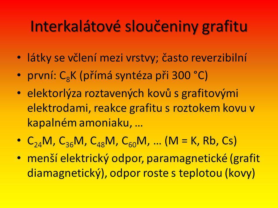 Interkalátové sloučeniny grafitu látky se včlení mezi vrstvy; často reverzibilní první: C 8 K (přímá syntéza při 300 °C) elektorlýza roztavených kovů s grafitovými elektrodami, reakce grafitu s roztokem kovu v kapalném amoniaku, … C 24 M, C 36 M, C 48 M, C 60 M, … (M = K, Rb, Cs) menší elektrický odpor, paramagnetické (grafit diamagnetický), odpor roste s teplotou (kovy)