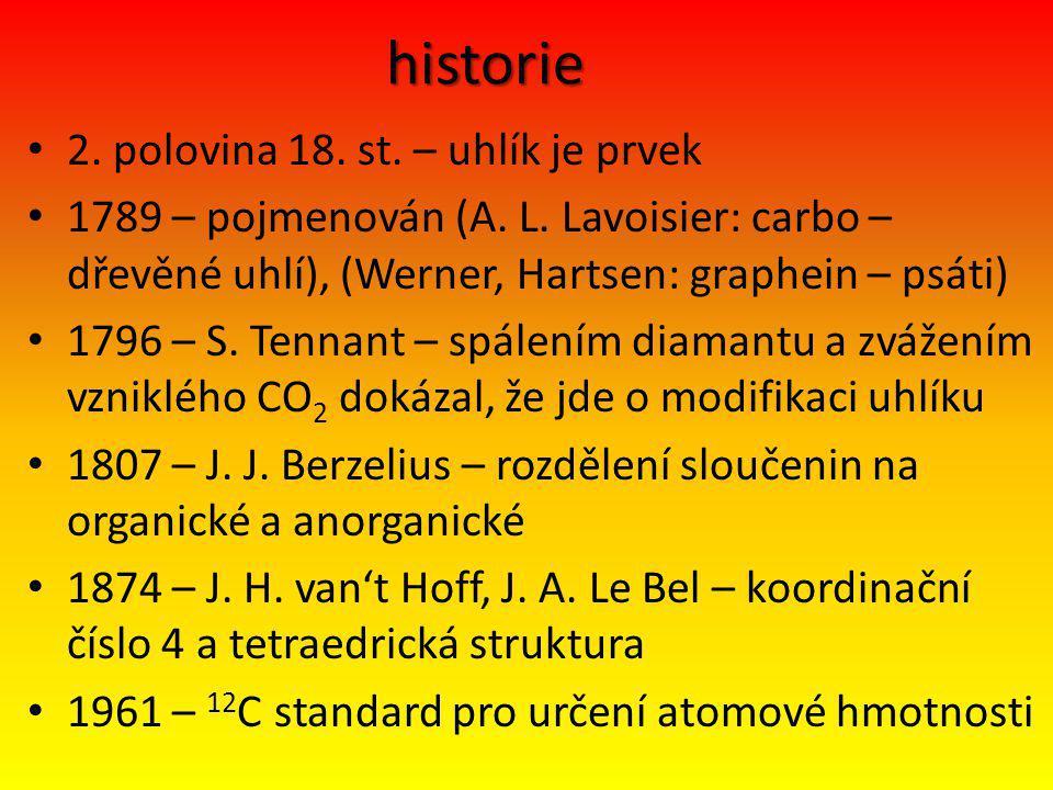 historie 2. polovina 18. st. – uhlík je prvek 1789 – pojmenován (A. L. Lavoisier: carbo – dřevěné uhlí), (Werner, Hartsen: graphein – psáti) 1796 – S.