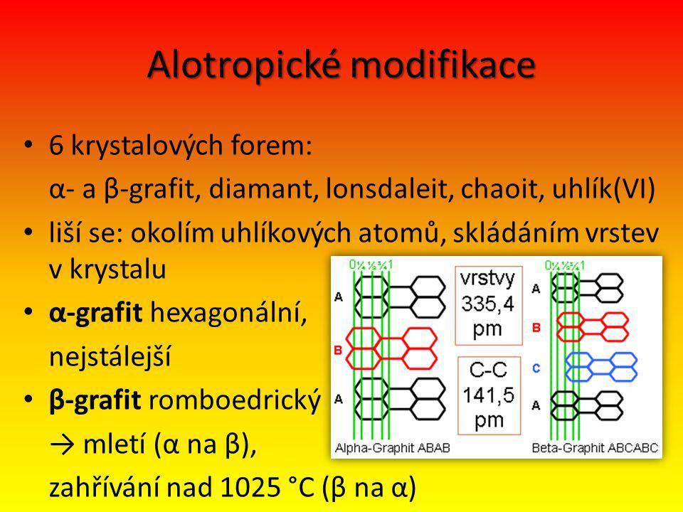 Alotropické modifikace 6 krystalových forem: α- a β-grafit, diamant, lonsdaleit, chaoit, uhlík(VI) liší se: okolím uhlíkových atomů, skládáním vrstev v krystalu α-grafit hexagonální, nejstálejší β-grafit romboedrický → mletí (α na β), zahřívání nad 1025 °C (β na α)