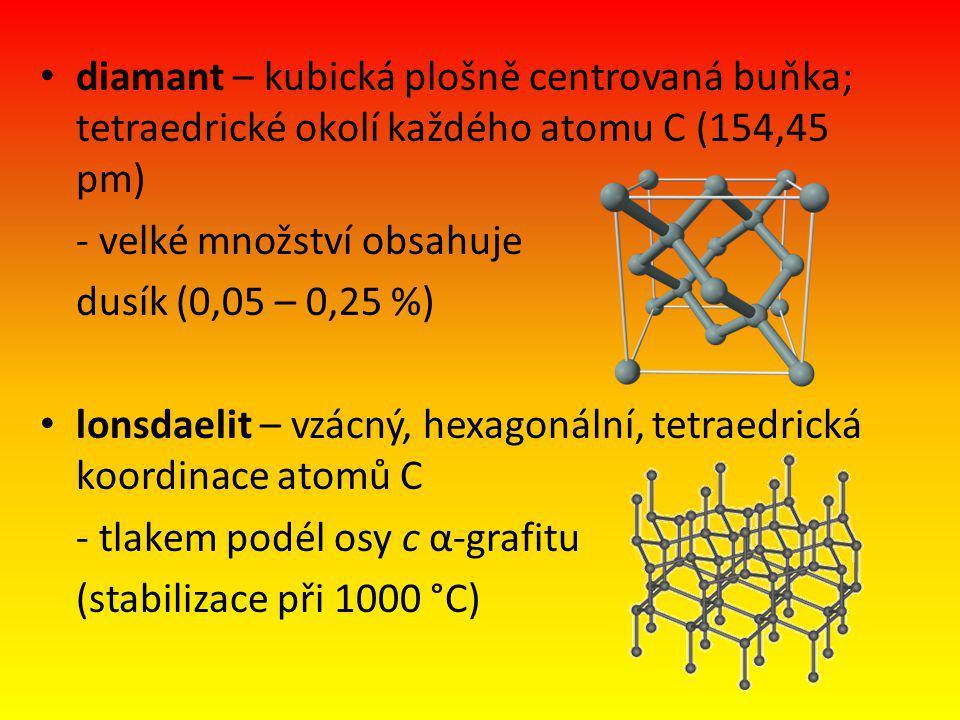 diamant – kubická plošně centrovaná buňka; tetraedrické okolí každého atomu C (154,45 pm) - velké množství obsahuje dusík (0,05 – 0,25 %) lonsdaelit –