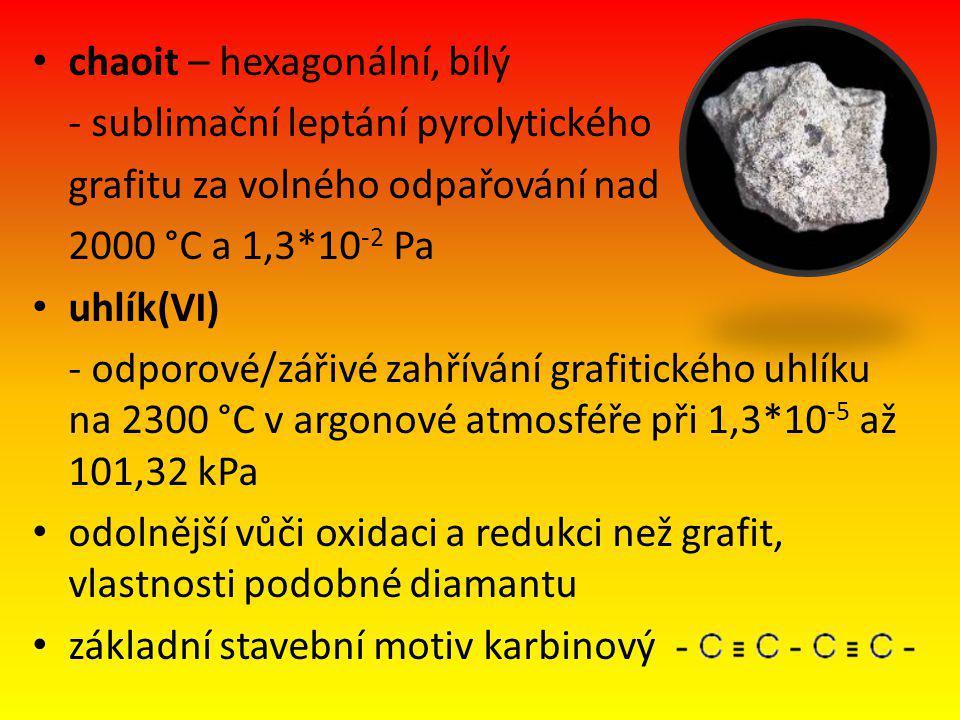chaoit – hexagonální, bílý - sublimační leptání pyrolytického grafitu za volného odpařování nad 2000 °C a 1,3*10 -2 Pa uhlík(VI) - odporové/zářivé zahřívání grafitického uhlíku na 2300 °C v argonové atmosféře při 1,3*10 -5 až 101,32 kPa odolnější vůči oxidaci a redukci než grafit, vlastnosti podobné diamantu základní stavební motiv karbinový