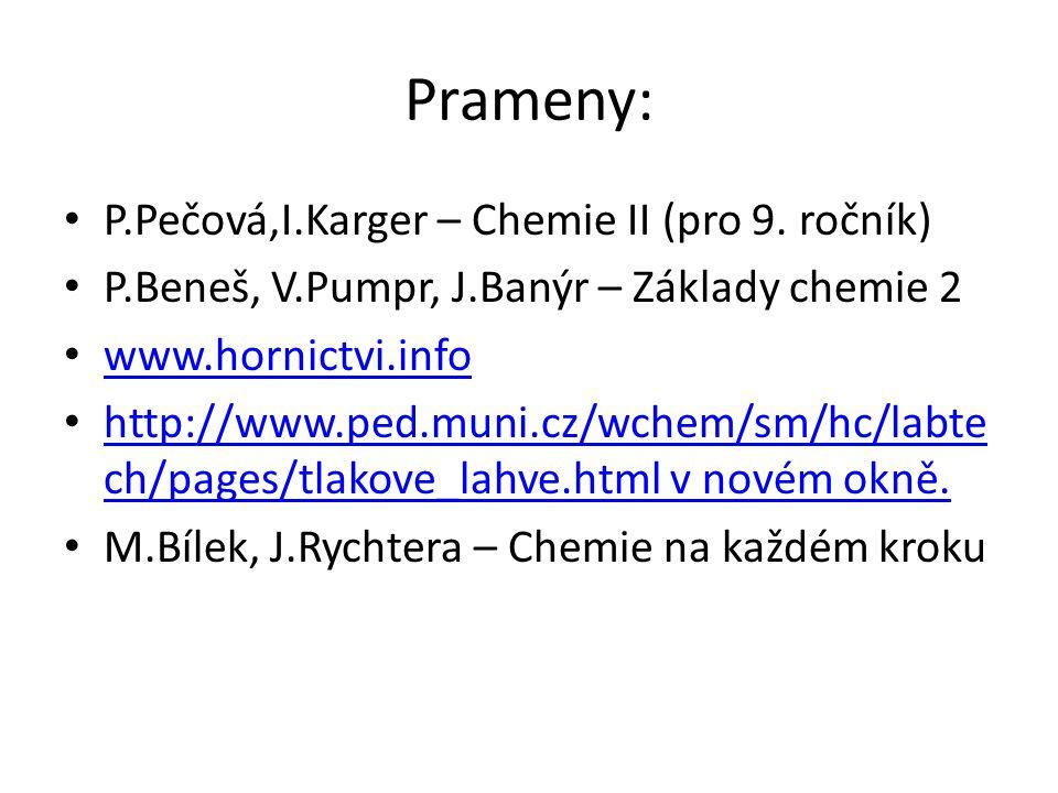 Prameny: P.Pečová,I.Karger – Chemie II (pro 9. ročník) P.Beneš, V.Pumpr, J.Banýr – Základy chemie 2 www.hornictvi.info http://www.ped.muni.cz/wchem/sm