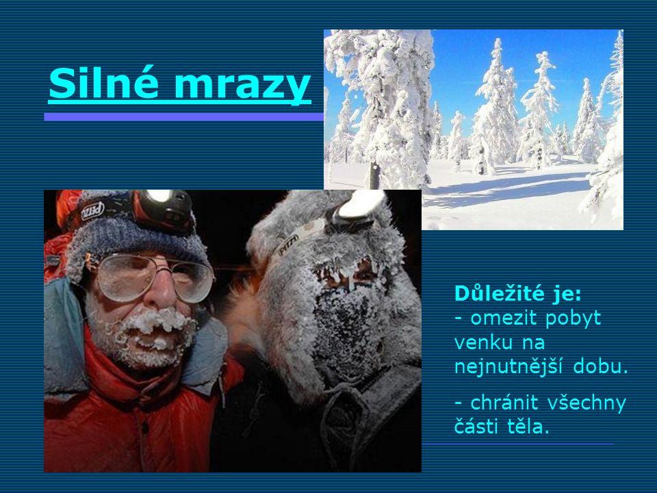 Silné mrazy Důležité je: - omezit pobyt venku na nejnutnější dobu. - chránit všechny části těla.