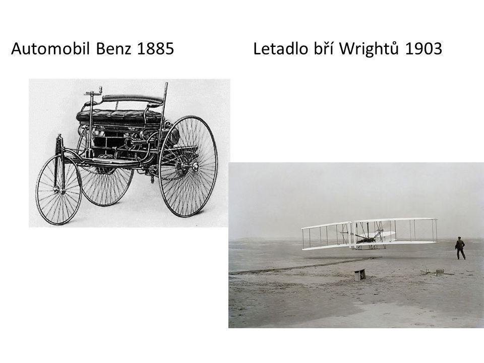 Automobil Benz 1885 Letadlo bří Wrightů 1903