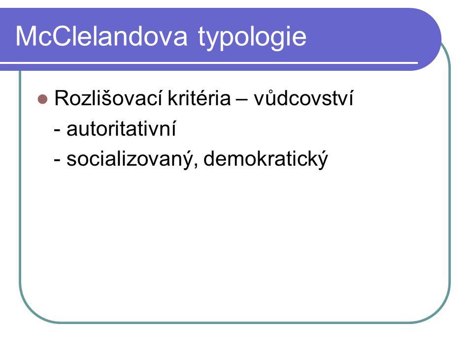 McClelandova typologie Rozlišovací kritéria – vůdcovství - autoritativní - socializovaný, demokratický