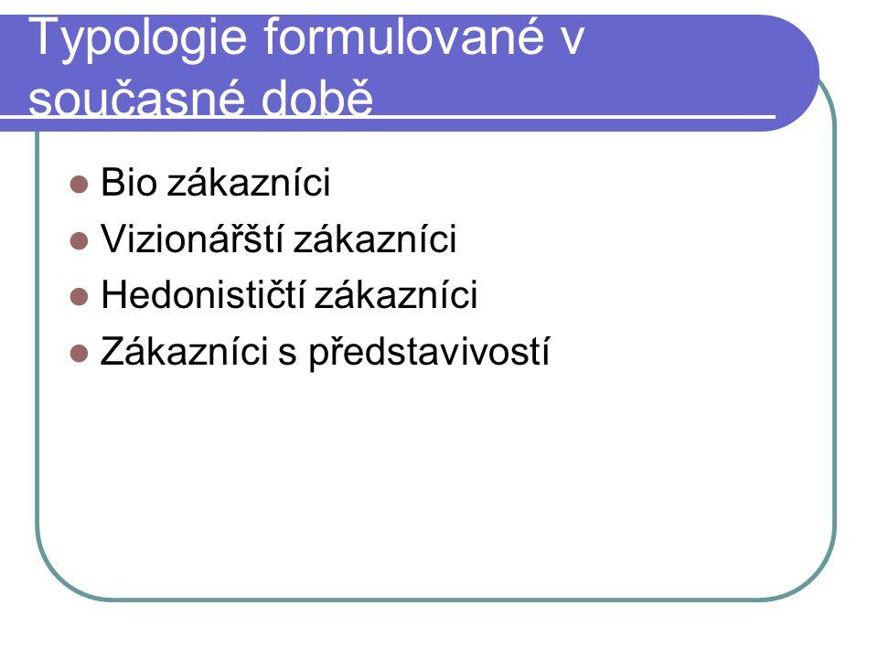 Typologie formulované v současné době Bio zákazníci Vizionářští zákazníci Hedonističtí zákazníci Zákazníci s představivostí