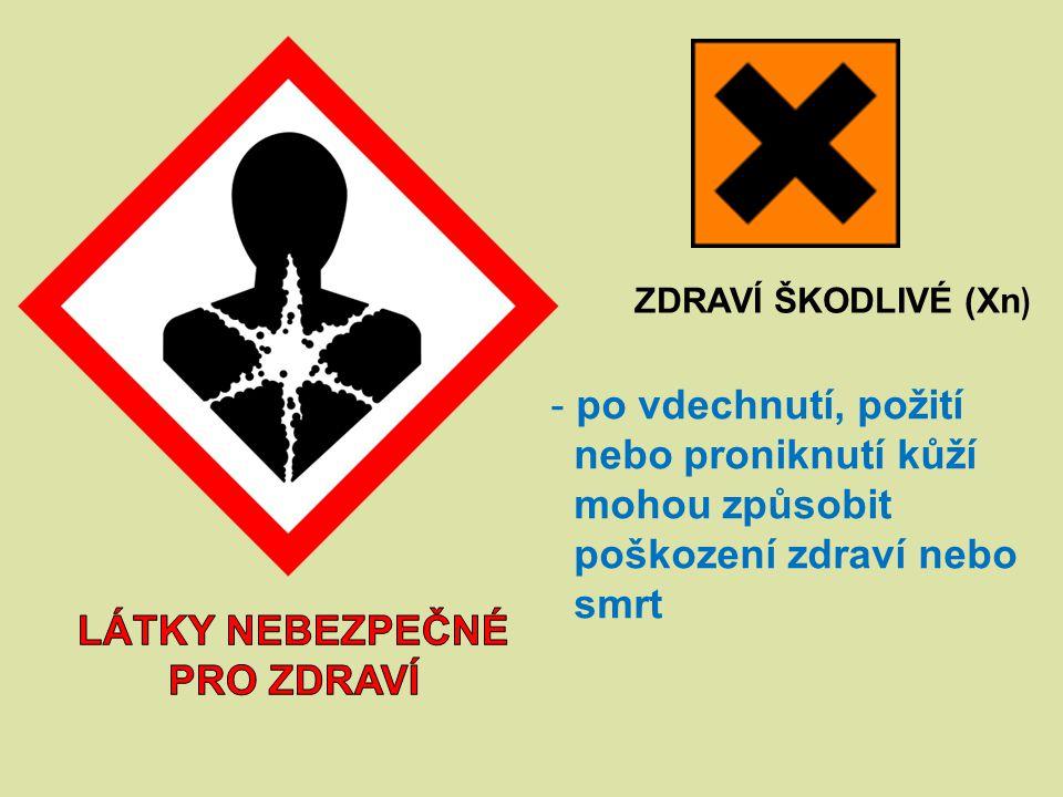 ZDRAVÍ ŠKODLIVÉ (Xn ) - po vdechnutí, požití nebo proniknutí kůží mohou způsobit poškození zdraví nebo smrt