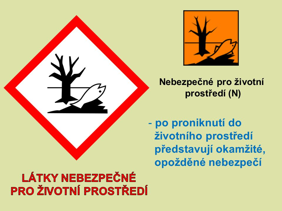 Nebezpečné pro životní prostředí (N) - po proniknutí do životního prostředí představují okamžité, opožděné nebezpečí