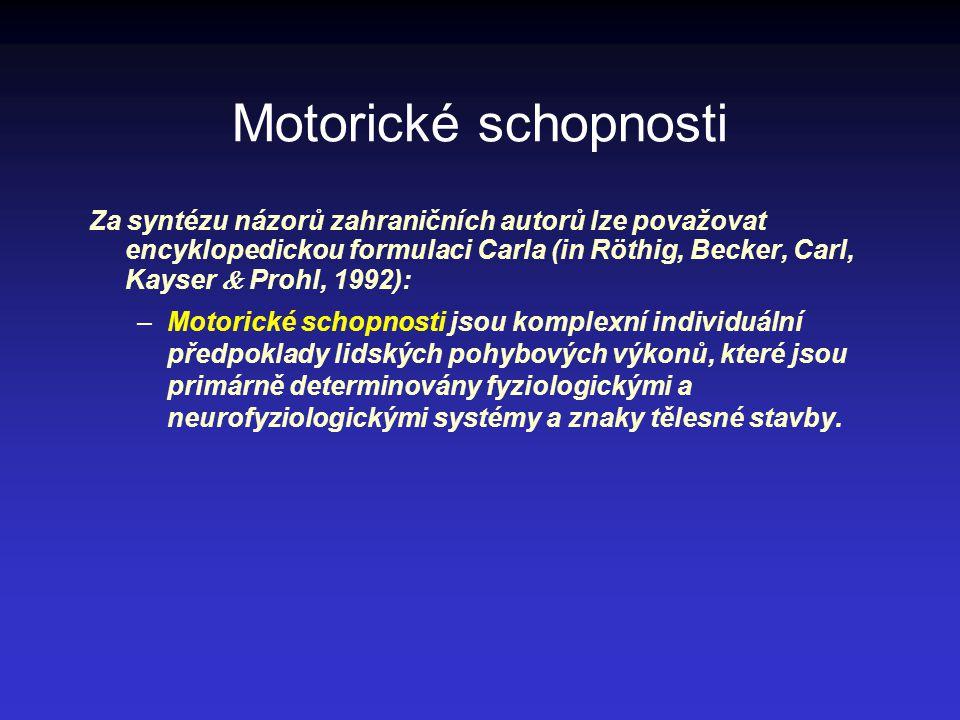Motorické schopnosti Za syntézu názorů zahraničních autorů lze považovat encyklopedickou formulaci Carla (in Röthig, Becker, Carl, Kayser  Prohl, 199