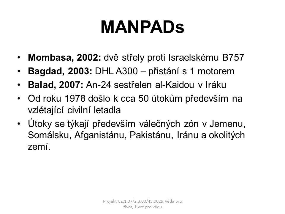 MANPADs Mombasa, 2002: dvě střely proti Israelskému B757 Bagdad, 2003: DHL A300 – přistání s 1 motorem Balad, 2007: An-24 sestřelen al-Kaidou v Iráku Od roku 1978 došlo k cca 50 útokům především na vzlétající civilní letadla Útoky se týkají především válečných zón v Jemenu, Somálsku, Afganistánu, Pakistánu, Iránu a okolitých zemí.