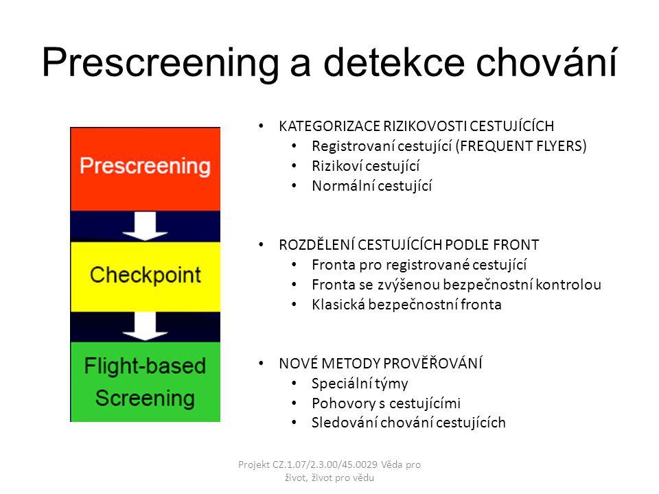 Prescreening a detekce chování KATEGORIZACE RIZIKOVOSTI CESTUJÍCÍCH Registrovaní cestující (FREQUENT FLYERS) Rizikoví cestující Normální cestující ROZDĚLENÍ CESTUJÍCÍCH PODLE FRONT Fronta pro registrované cestující Fronta se zvýšenou bezpečnostní kontrolou Klasická bezpečnostní fronta NOVÉ METODY PROVĚŘOVÁNÍ Speciální týmy Pohovory s cestujícími Sledování chování cestujících Projekt CZ.1.07/2.3.00/45.0029 Věda pro život, život pro vědu